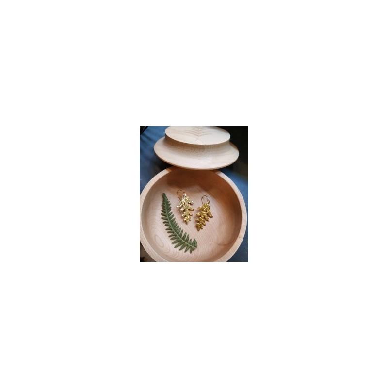 Boucles d'oreille Fougère en laiton doré