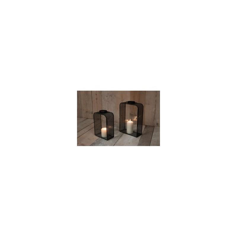 Lanterne en Verre et Métal Noir BAKA Grand Modèle